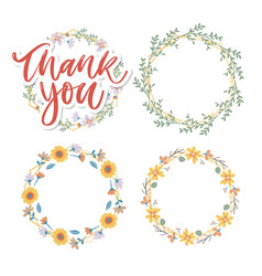 cute thank you script card flowers letter text vector image