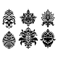 Damask ornaments flowers and motifs silhouette vector