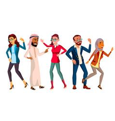 dancing people set friends disco party vector image
