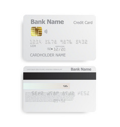 Detailed realistic credit cards on grey background vector