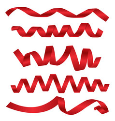 dynamic shapes of red ribbons for different design vector image