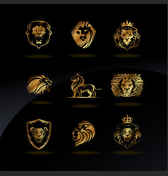 emblems with golden lions vector image