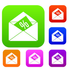 envelope with percentage set collection vector image