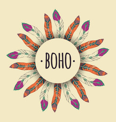 ethnic with feather frame in boho style tribal vector image