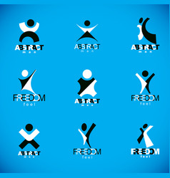 excited abstract man with arms reaching up vector image