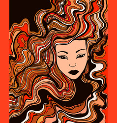 Face a young girl with red curly hair and vector