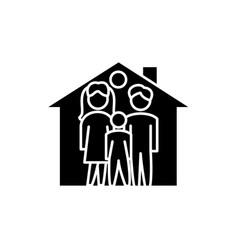 family house black icon sign on isolated vector image