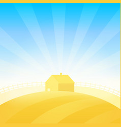Farm house near field of wheat vector