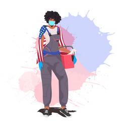 Female janitor with usa flag holding bucket with vector