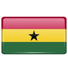 Flags Ghana in the form of a magnet on vector