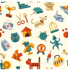 Flat design pattern with pets icons vector