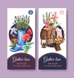 Flower garden flyer design with a boot spade vector