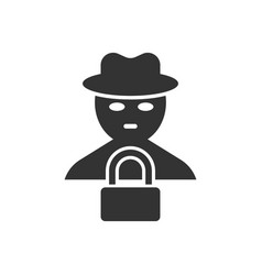Fraud hacker icon in flat style spy on isolated vector