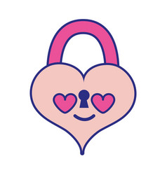 Full color heart padlock in love kawaii personage vector