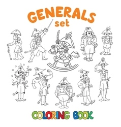 General or officers coloring book set vector