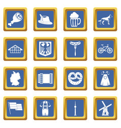 Germany icons set blue vector