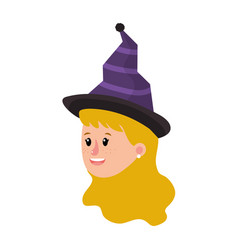 Girl head with witch hat and hairstyle vector