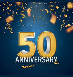 Golden fifty years anniversary on dark blue vector