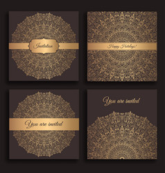 golden invitations set vector image