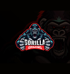 gorilla mascot esport logo design vector image