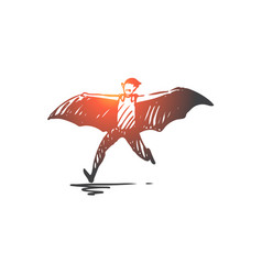 halloween bat costume horror concept hand vector image