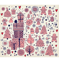 Hand doodle christmas elements vector image