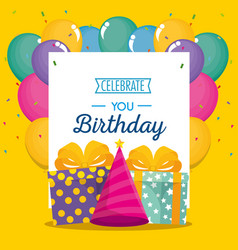 happy birthday celebration card with gifts and vector image