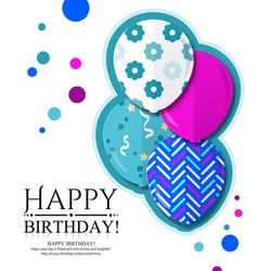 happy birthday invitation card with balloons vector image
