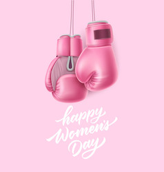 Happy women day lettering 8 march box glove vector