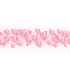 heart seamless line border background with light vector image