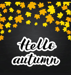 hello autumn written with brush on chalkboard vector image