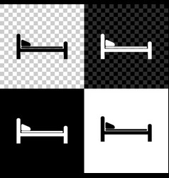 hospital bed icon isolated on black white and vector image