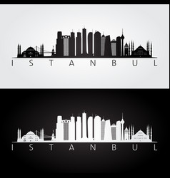 istanbul skyline and landmarks silhouette vector image