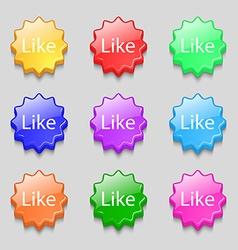 Like sign icon Symbols on nine wavy colourful vector image