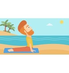 Man practicing yoga vector