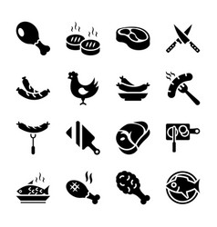 Meat glyph icons set vector