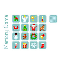 memory game with christmas elements pixel-art vector image
