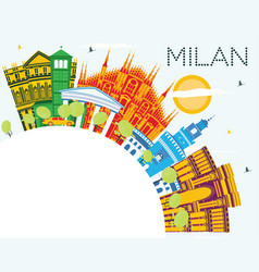 milan italy city skyline with color buildings vector image