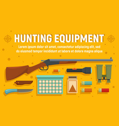 modern hunter equipment concept banner flat style vector image