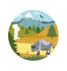 natural park poster scene with bison mountains vector image