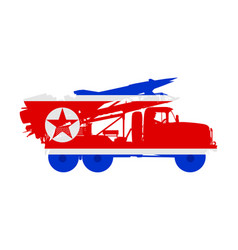 North korea missile rocket carrier nuclear bomb vector