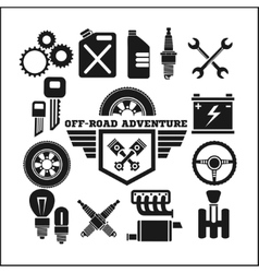 Off-road adventure and car parts icon set vector