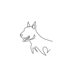 one continuous line drawing fierce doberman vector image
