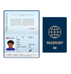 Opened international passport template with blue vector
