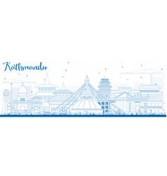Outline kathmandu skyline with blue buildings vector