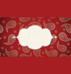 Paisley background with a frame in indian slile vector