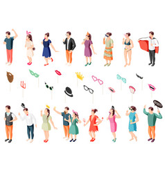 photo booth props isometric set vector image