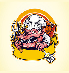 pig barbecue bbq mascot logo with banner vector image