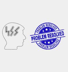 pixel migraine head icon and grunge problem vector image