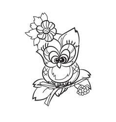 Pretty owl on tree branch vector